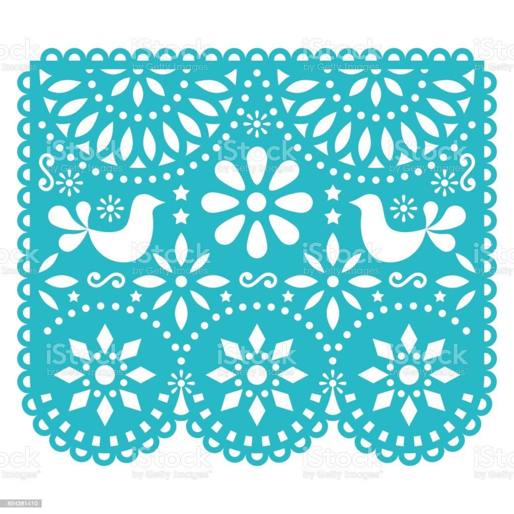 Papel Picado vector template design, Mexican paper decorations with birds and flowers, traditional fiesta banner in turquoise vector art illustration