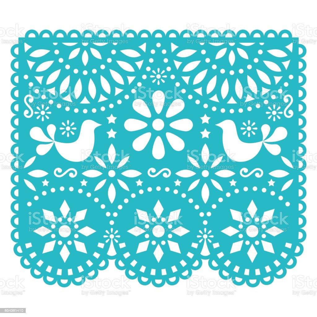 Design de modelo de vetor de Papel Picado, decorações de papel mexicano com pássaros e flores, banner de festa tradicional em turquesa - ilustração de arte em vetor