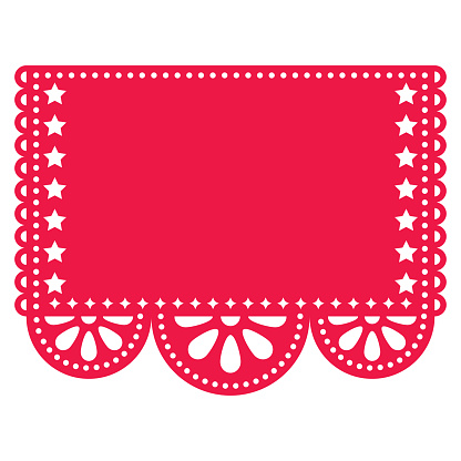Papel Picado vector template design with empty space for text, red Mexican paper cut out decoration with flowers and geometric shapes - greeting card or weddding invitation