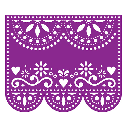 Papel Picado vector template with no text, floral purple design with abstract shapes, retro Mexican paper decorations pattern