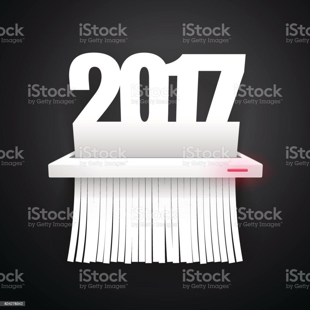 Paper 2017 is Cut into Shredder Dark vector art illustration