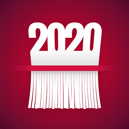 Paper 2020 Is Cut Into Shredder On Red
