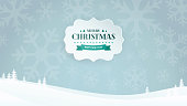 Paper 3D banner with Christmas and New Year Typographical vintage badge on the winter landscape background with snowflake silhouettes and trees. Flat, minimal and clean design. Vector Illustration.