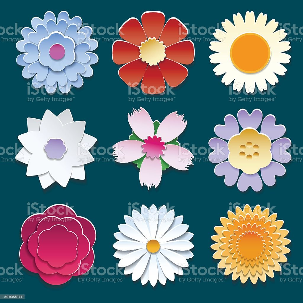 Paper 3d Origami Flowers Set Stock Vector Art More Images Of Art
