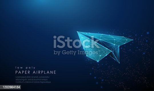 Paper air plane. Low poly style design. Abstract geometric background. Wireframe light connection structure. Modern 3d graphic concept. Isolated vector illustration.