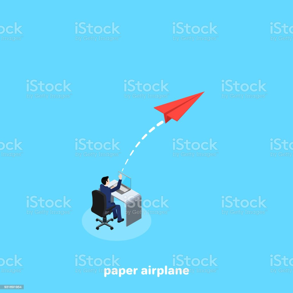 paper airplane 2 vector art illustration