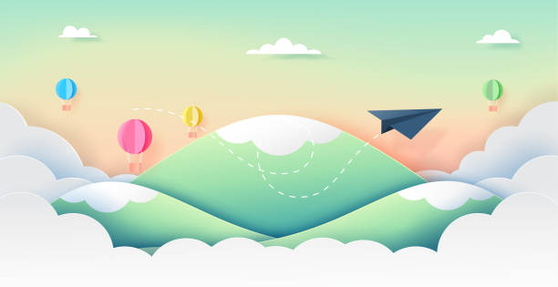 Paper airplane and ballons flying on beautiful sky paper art style. vector art illustration