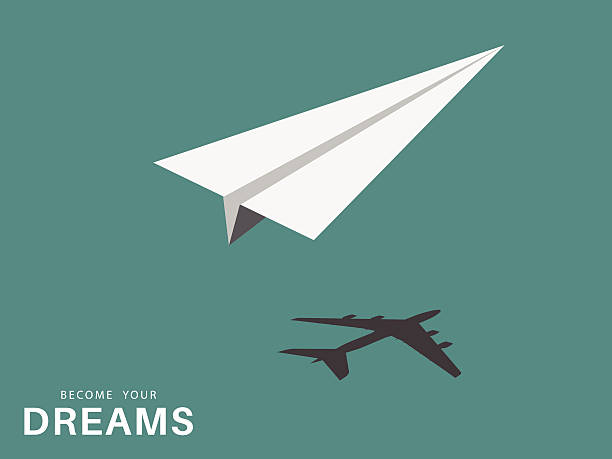 Paper airplane and silhouette of airplane Paper airplane visualizing the dream concept aviation and environment summit stock illustrations