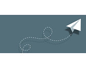 istock Paper airplane background design business card 1127941638