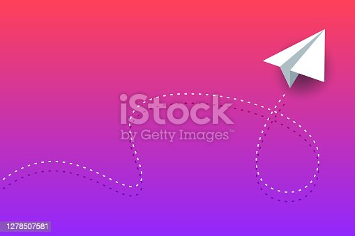 istock Paper airplane background design 1278507581