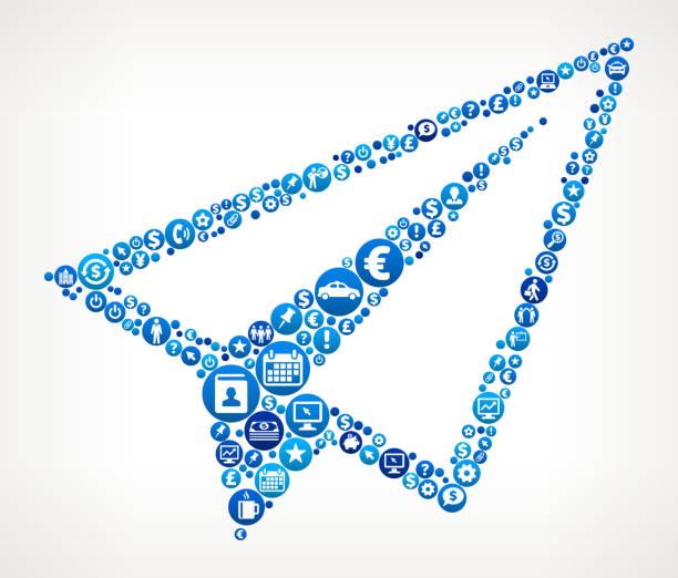 ilustrações, clipart, desenhos animados e ícones de finanças e negócios de avião de papel padrão de ícone azul - ícones de design planar