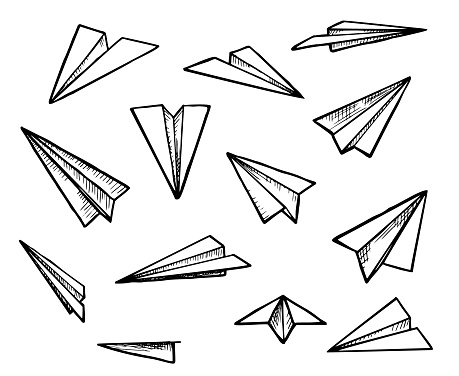 Paper Airplane Doodle Set