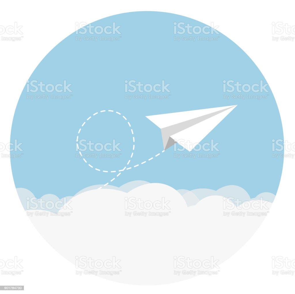 paper airplane Flat Design vector art illustration