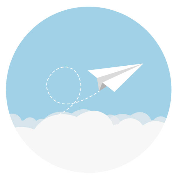 paper airplane flat design - business travel stock illustrations, clip art, cartoons, & icons