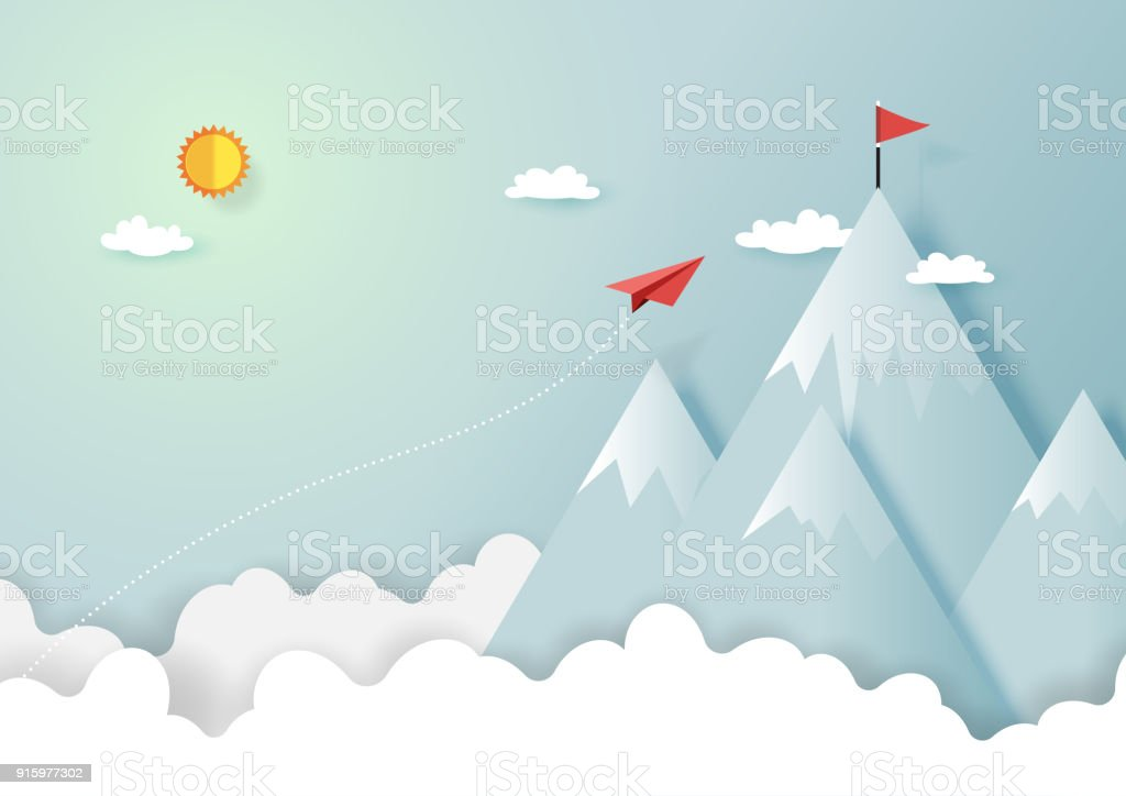 Paper airplane flying to top of mountain vector art illustration