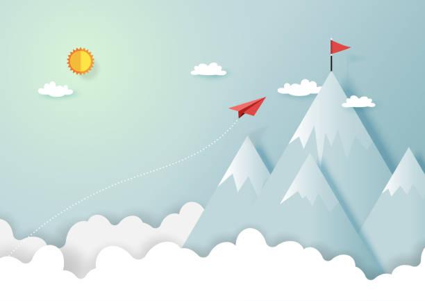 Avión de papel volando a la cima de la montaña - ilustración de arte vectorial