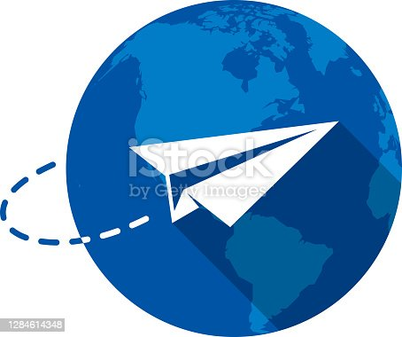 Vector illustration of a paper airplane against a blue globe background in flat style.
