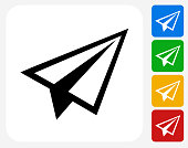 Paper Airplane Icon. This 100% royalty free vector illustration features the main icon pictured in black inside a white square. The alternative color options in blue, green, yellow and red are on the right of the icon and are arranged in a vertical column.