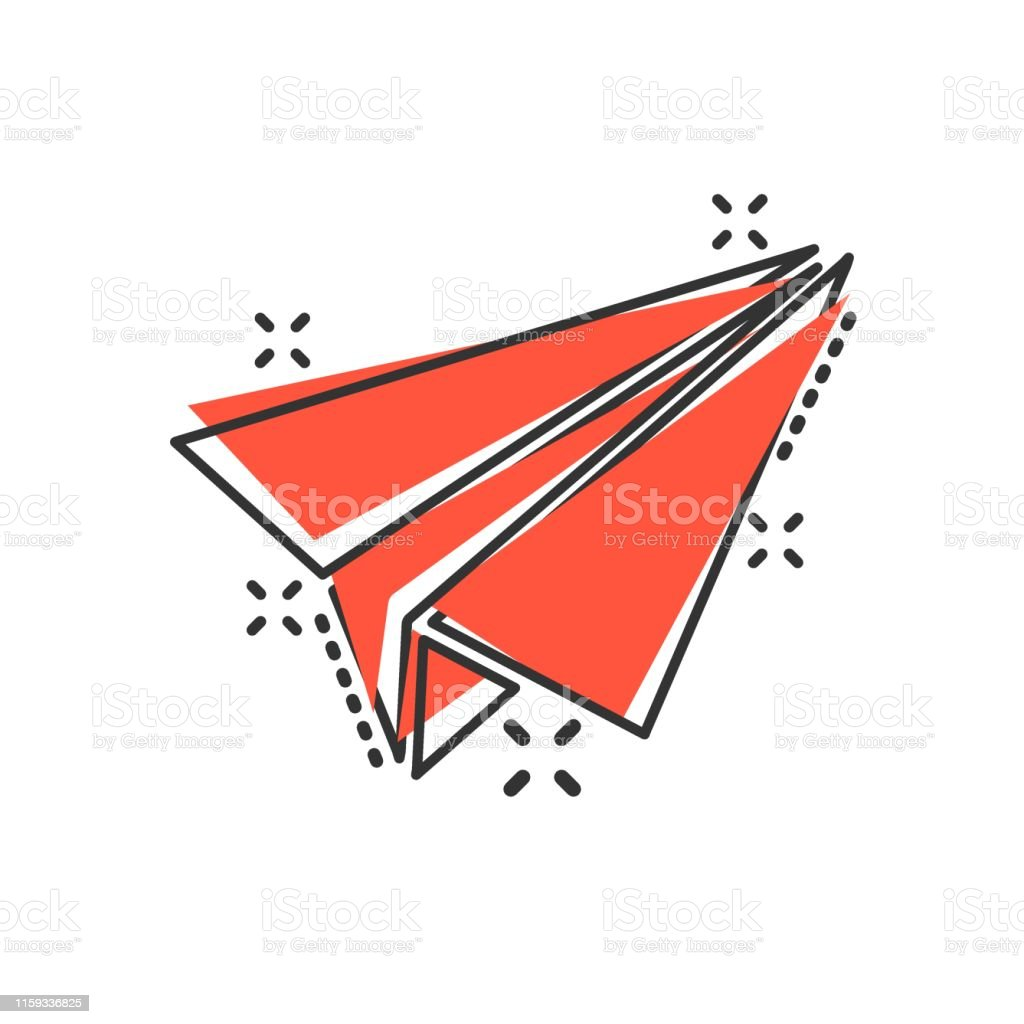 Paper Airplane Icon In Comic Style Plane Vector Cartoon