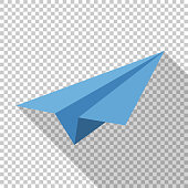 Paper airplane icon in flat style with long shadow on transparent background