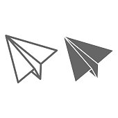Paper Airplane line and solid icon, delivery symbol, Paper plane vector sign on white background, flying kid jet icon in outline style for mobile concept and web design. Vector graphics