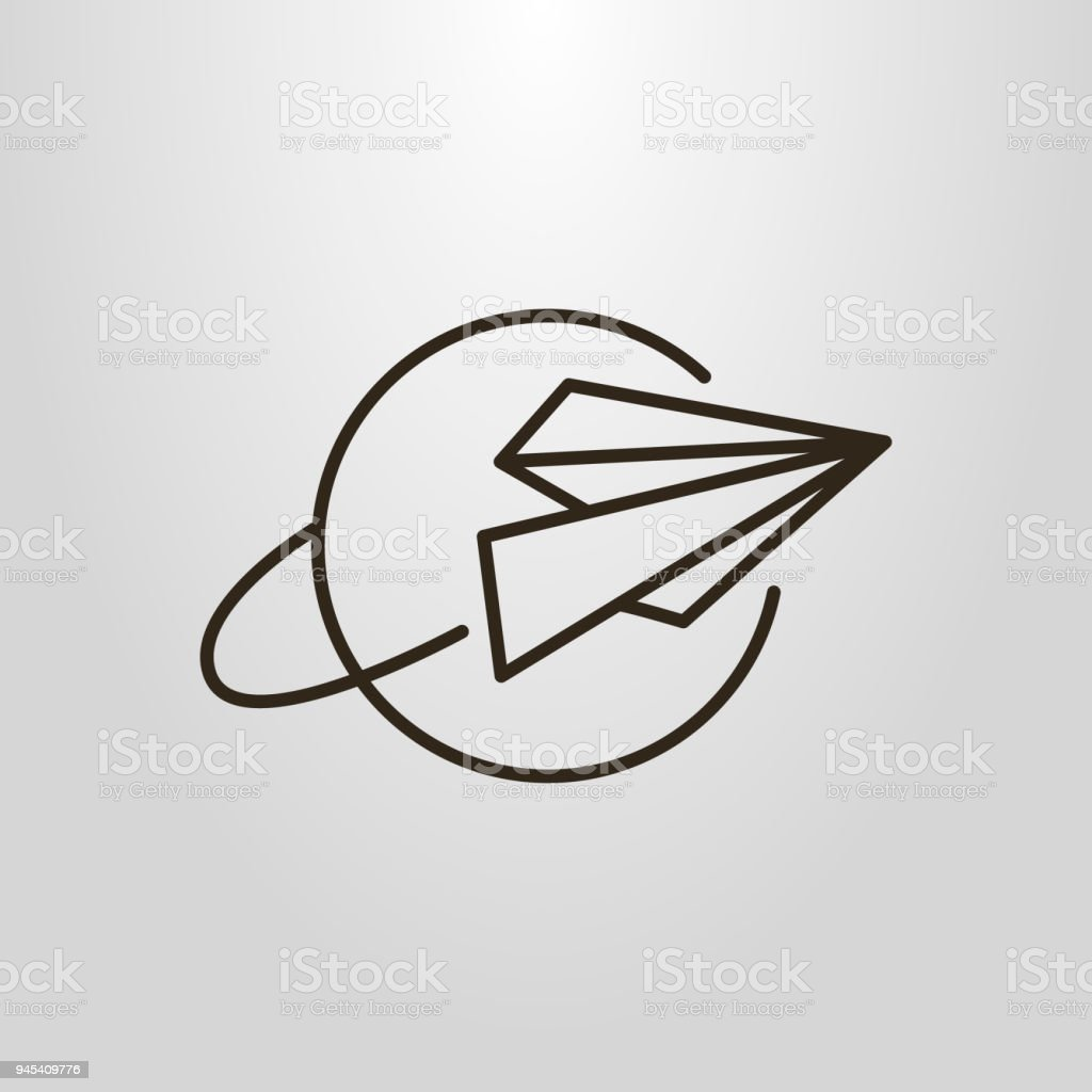 paper airplane linear icon vector art illustration