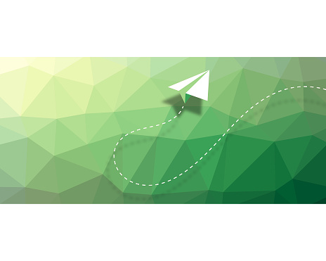 Paper airplane low poly modelling background design