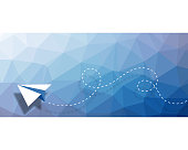 Vector illustration of a paper airplane background design with a low-poly-modelling design that can also be used as a business card template.