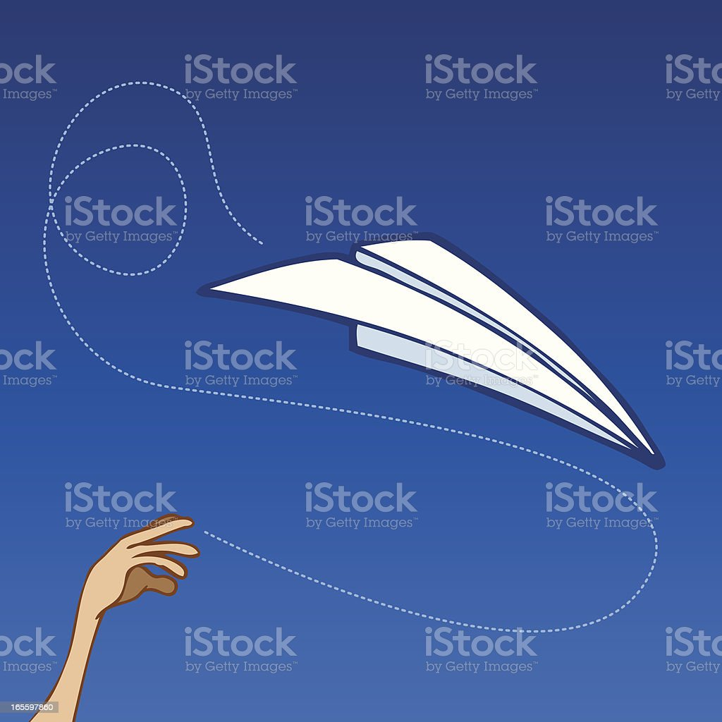 Paper Airplane Throw royalty-free paper airplane throw stock vector art & more images of airplane