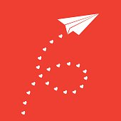 Vector Illustration of a white paper airplane with a trail of hearts behind it on a red square background.