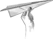 Engraving style illustration of paper airplane ready to take flight.