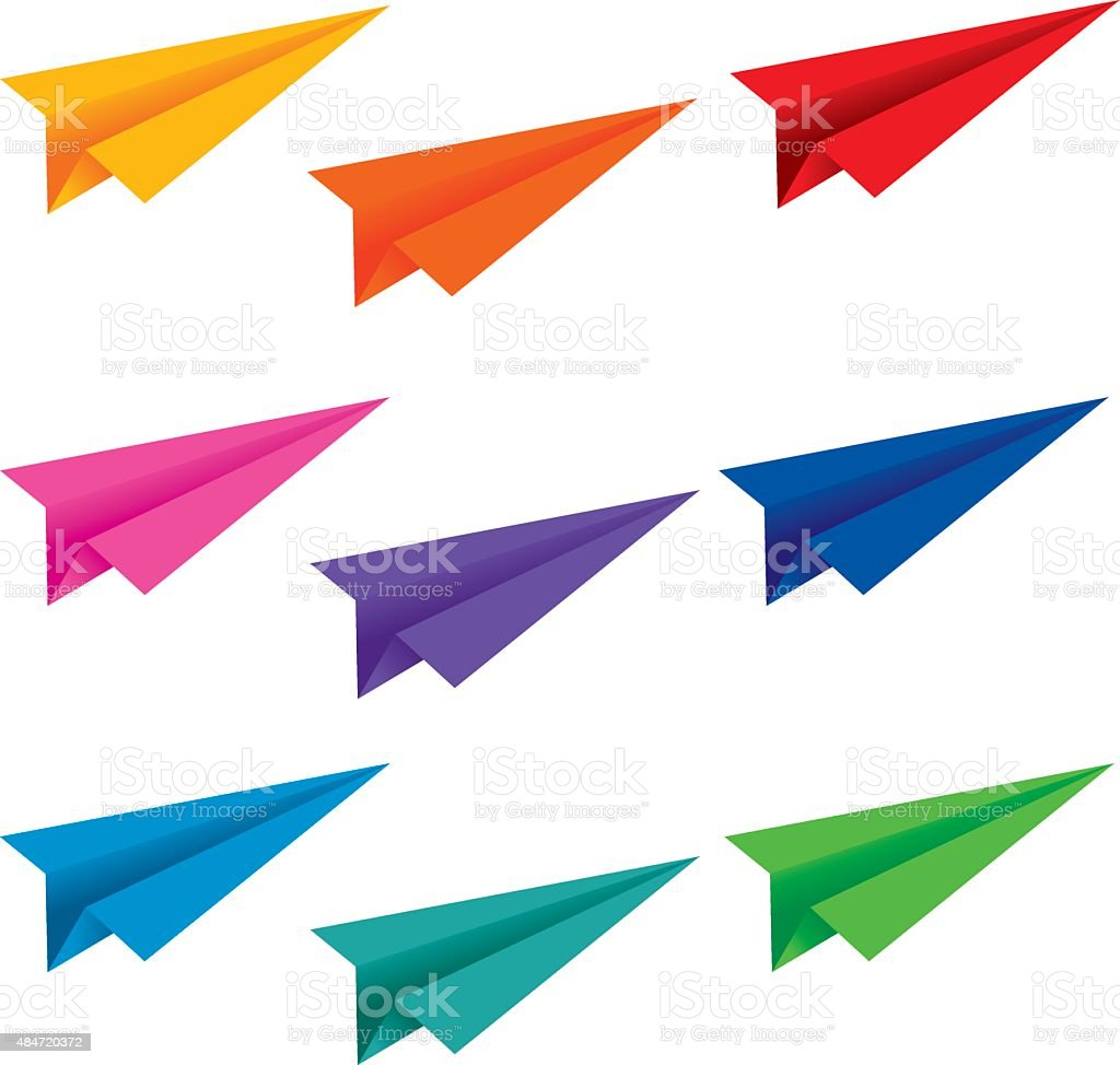 Paper airplane vector art illustration
