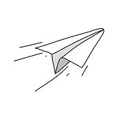 Paper Airplane Vector Illustration Symbol Design Element