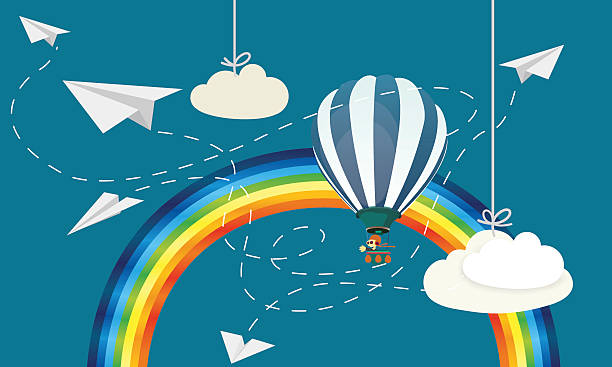 Paper airplane with balloon and rainbow vector art illustration