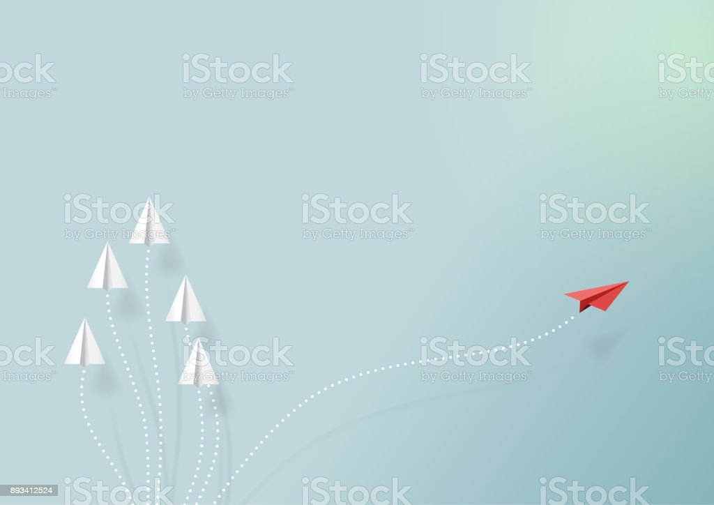 Paper airplane with business vision vector art illustration