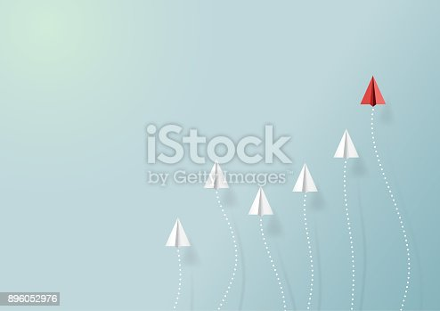 istock Paper airplane with form of graph 896052976