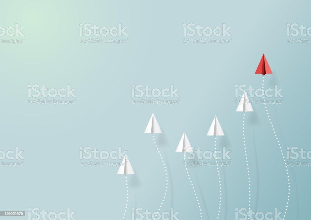 Avião de papel com forma de gráfico - ilustração de arte em vetor