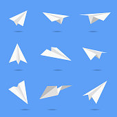 Vector illustration of a collection of paper airplane designs for social media, business and marketing design projects.