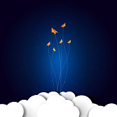 Group of paper planes flying on dark blue night sky background.Business start up and teamwork concept vector illustration.