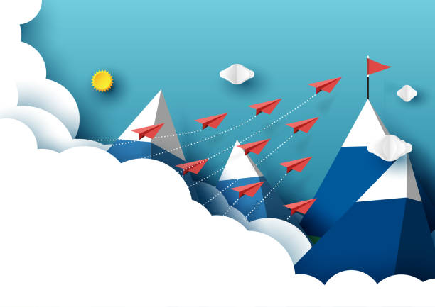 Paper airplanes flying to red flag on the peak of blue mountain Paper airplanes flying from clouds to red flag on the peak of mountain and blue sky.Paper art style of business teamwork creative idea concept.Vector illustration flourish art stock illustrations