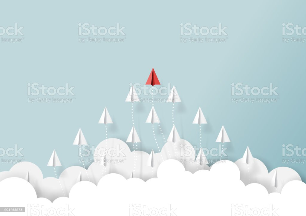 Paper airplanes teamwork flying from clouds vector art illustration