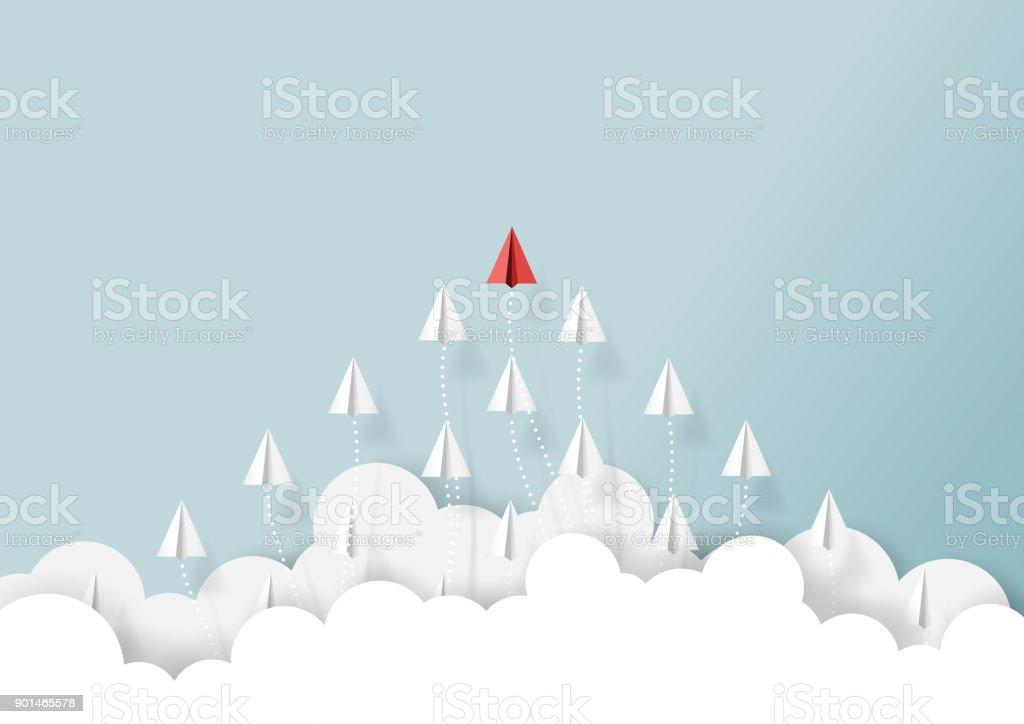Equipo de aeroplanos de papel volando desde las nubes - ilustración de arte vectorial