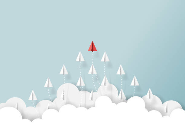 Paper airplanes teamwork flying from clouds Paper airplanes flying from clouds on blue sky.Paper art style of business teamwork creative concept idea.Vector illustration motivation stock illustrations