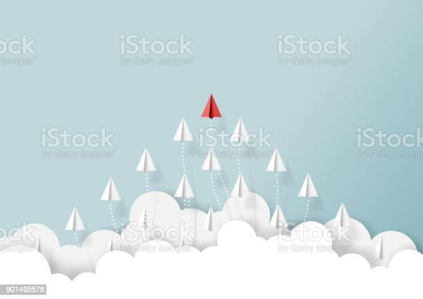 Paper Airplanes Teamwork Flying From Clouds - Arte vetorial de stock e mais imagens de Abstrato