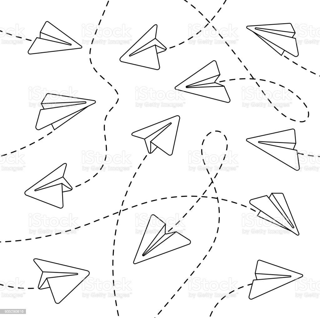 Papierflieger Mit Gestrichelten Linien Stock Vektor Art und mehr ...