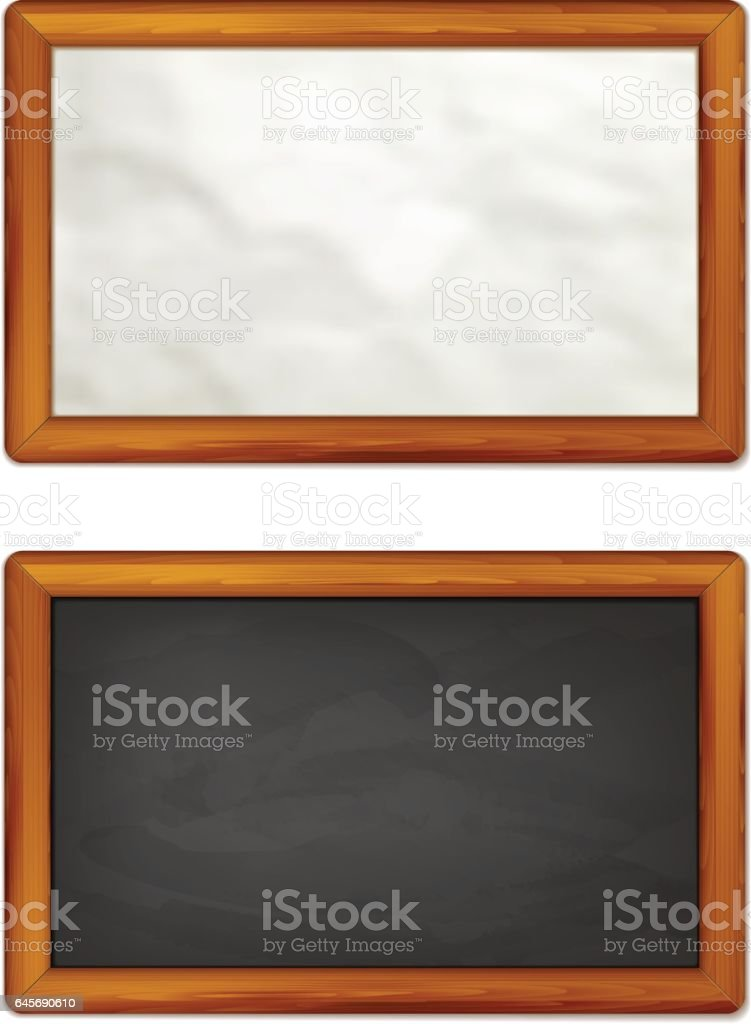 Paper And Chalkboard Background With Wooden Border Royalty Free