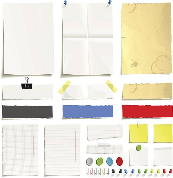 종이 클립 세트 - 종이 클립 stock illustrations