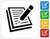 Paper and Pencil Icon Flat Graphic Design