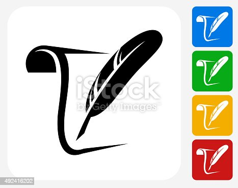 Paper and Quill Icon. This 100% royalty free vector illustration features the main icon pictured in black inside a white square. The alternative color options in blue, green, yellow and red are on the right of the icon and are arranged in a vertical column.