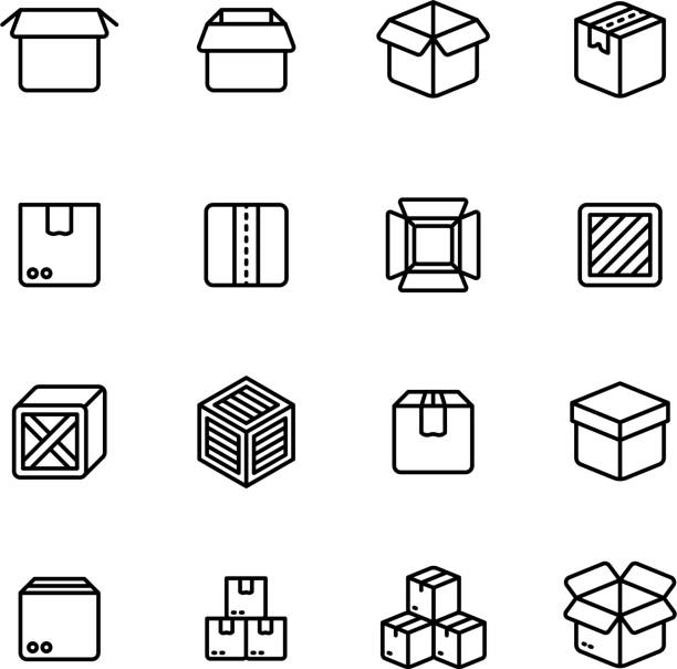Bекторная иллюстрация Paper and wood box line icons. Shipping packing outline vector pictograms